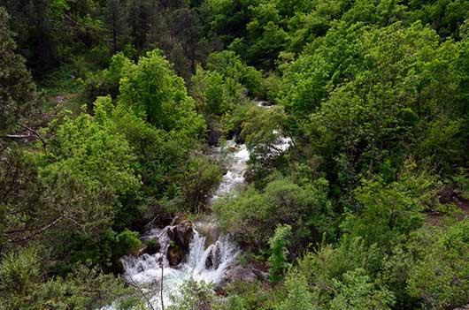 Горная речка протекающая в ущелье