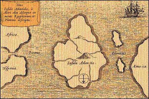 старая карта с обозначением атлантиды