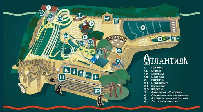 Карта-схема аквапарка Атлантида в Ялте