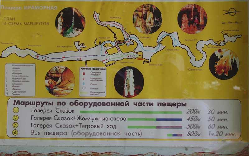 Схема Мраморной пещеры